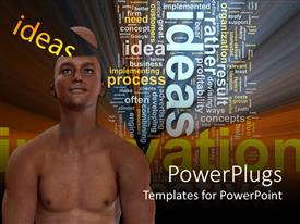 PowerPlugs: PowerPoint template with an adult shirtless male with a text that spell out the word 'ideas'