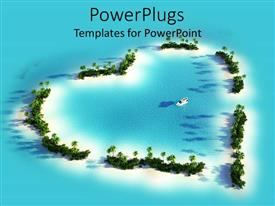PowerPlugs: PowerPoint template with aerial over head view of a blue sea with a love shape