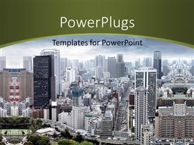 PowerPlugs: PowerPoint template with aerial view of modern city with skyscrapers and cloudy sky