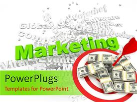 PowerPlugs: PowerPoint template with affiliate marketing concept with keywords in background