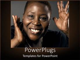 PowerPlugs: PowerPoint template with african-American woman with a smile on grey background