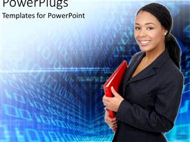 PowerPlugs: PowerPoint template with african American business women with red folder in hand looking happy