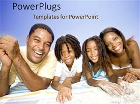 Powerpoint template happy family play at beach with kite 11821 template having african american family with father mother boy and girl laying on towel on toneelgroepblik Choice Image