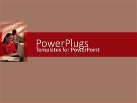 PowerPoint template displaying an African American lady wearing a head set smiling in an office