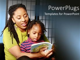 PowerPoint template displaying african American mother with kid on her laps reading story book
