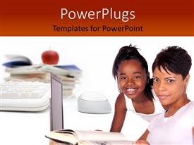 PowerPoint template displaying african American mother with little daughter learning with red apple on desk