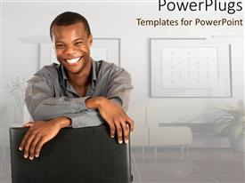 PowerPlugs: PowerPoint template with young man smiling in beautiful corporate room with flowers
