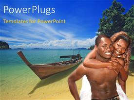 PowerPoint template displaying an African couple with sea in the background