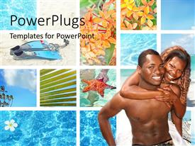 PowerPoint template displaying an african couple with water in the background