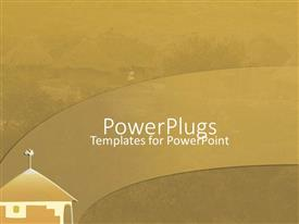 PowerPoint template displaying africanvillage setting with mordern hurt in hazy brown background