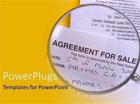 PowerPlugs: PowerPoint template with agreement for sale under magnifying glass, contract, real estate, yellow border