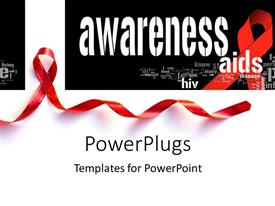 PowerPlugs: PowerPoint template with aid awareness concept with red support ribbon with keywords in the background