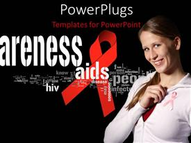 PowerPlugs: PowerPoint template with aIDS awareness flyer with awareness terms and girl using pink ribbon