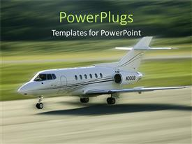 PowerPlugs: PowerPoint template with a get air craft going to land on a runway