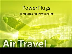 PowerPoint template displaying air travel depiction with silhouette of airplane on world map