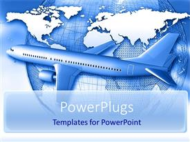 PowerPoint template displaying air travel global transportation theme with airplane and globe
