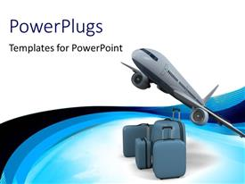 PowerPlugs: PowerPoint template with airline model with travelling luggage of varying sizes on white surface