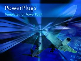 PowerPlugs: PowerPoint template with an airplae during the flight with flight schedule in background