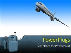 PowerPoint template displaying an airplane with 3 bags of luggage