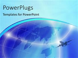 PowerPlugs: PowerPoint template with an airplane in the air with a globe in the background