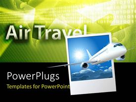 PowerPlugs: PowerPoint template with an airplane with air travel in the background