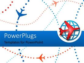 PowerPlugs: PowerPoint template with an airplane along with a globe