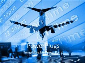 PowerPlugs: PowerPoint template with airplane approaching airport with arrival board and travellers with suitcases