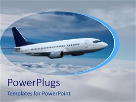 PowerPoint template displaying airplane in blue sky with clouds, flying, aviation, travel