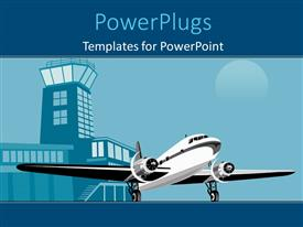 PowerPoint template displaying an airplane with a building in the background