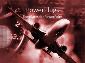 PowerPoint template displaying airplane and clock in red and black, air travel