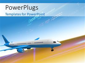 PowerPlugs: PowerPoint template with airplane with departure schedule in the background