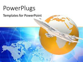 PowerPlugs: PowerPoint template with a airplane emerging from globe with map in the background