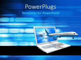 PowerPoint template displaying airplane emerging from laptop screen on digital background