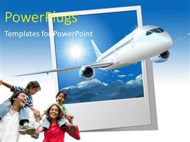 PowerPlugs: PowerPoint template with an airplane with a family happy for vacations