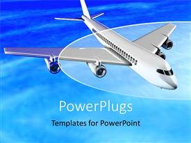 PowerPlugs: PowerPoint template with an airplane flying in the air