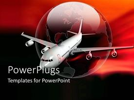PowerPoint template displaying airplane flying beside an earth globe on a red background