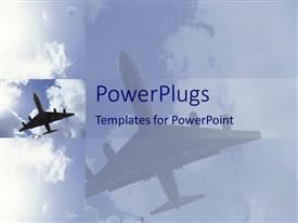 PowerPlugs: PowerPoint template with an airplane flying with its reflection in the background