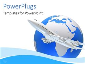 PowerPlugs: PowerPoint template with an airplane with a globe in the background