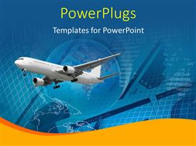 PowerPlugs: PowerPoint template with an airplane with a globe in the background and place for text