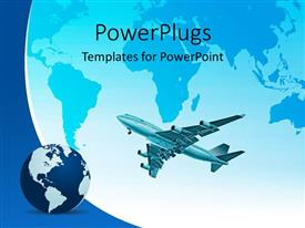 PowerPlugs: PowerPoint template with an airplane and a globe on a large globe background