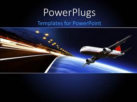 PowerPoint template displaying an airplane going to land on a runway