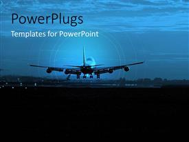 PowerPoint template displaying an airplane going to land on a runway with cloudy background