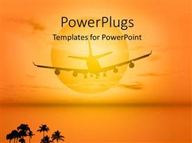 PowerPlugs: PowerPoint template with an airplane with a lot of palm trees