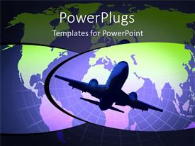 PowerPlugs: PowerPoint template with a airplane with the map of the Earth in background