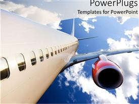 PowerPoint template displaying airplane with red engine flying in blue cloudy sky