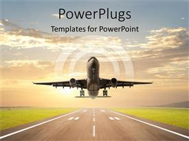 PowerPoint template displaying an airplane just taking off on an aiport runway