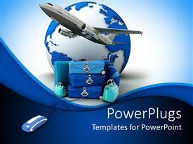 PowerPlugs: PowerPoint template with airplane taking off a pile of luggage beside earth and computer mouse