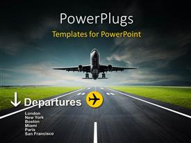 PowerPoint template displaying an airplane taking off from the runway