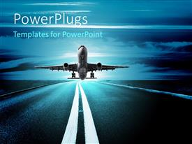 PowerPlugs: PowerPoint template with airplane taking off on the runway with beautiful blue sky in the background
