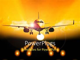 PowerPlugs: PowerPoint template with an airplane taking off with sky in the background